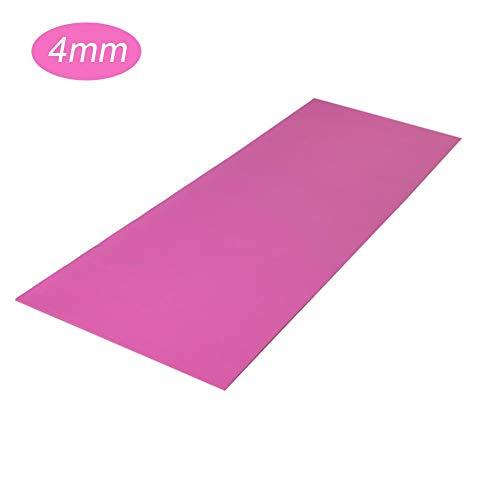 Esterilla antideslizante de 4 mm de grosor para yoga, pilates y entrenamiento (rosa)