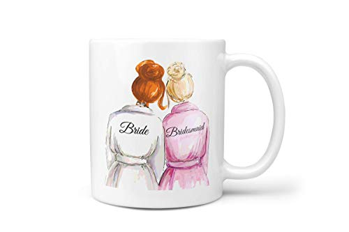 Bridesmaid Gift Proposal   Best Wedding Gift for Bride   Bride Gift from Bridesmaid   Bridal Shower Gift for Her   Bridesmaid Mug from Bride (Redhead & Blonde)