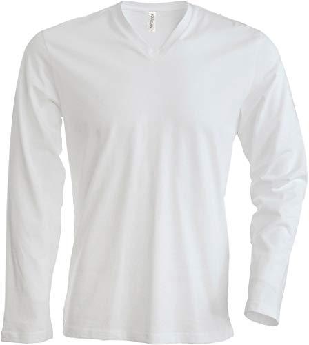 Kariban T-Shirt COL V Manches Longues - Blanc, XL, Homme
