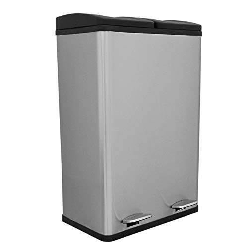 60L Pedal Bin Dual Compartment 2 x 30L Large Recycling Rubbish Heavy Duty Metal Trash Can Garbage Recycle Eco Dustbin Stainless Steel Kitchen Waste