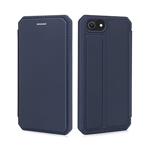 iPhone SE ケース [第2世代] iPhone8 ケース iPhone7ケース スマホケース 手帳型 汗や指紋防止 耐衝撃 着脱しやすい 優れた放熱性 擦り傷防止 カード収納 スタンド機能 4.7インチ対応 (ブルー)
