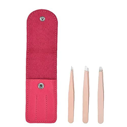 AtheMeet Pinzas de depilación Pinzas de Acero Inoxidable Extensión de la pestaña Pinzas de Maquillaje con Bolsa de Rosa