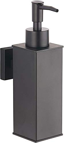 BGL Soap Dispenser Stainless Steel 304 Wall Mount Liquid and Soap Dispenser for Kitchen and Bathroom (Black, Square)