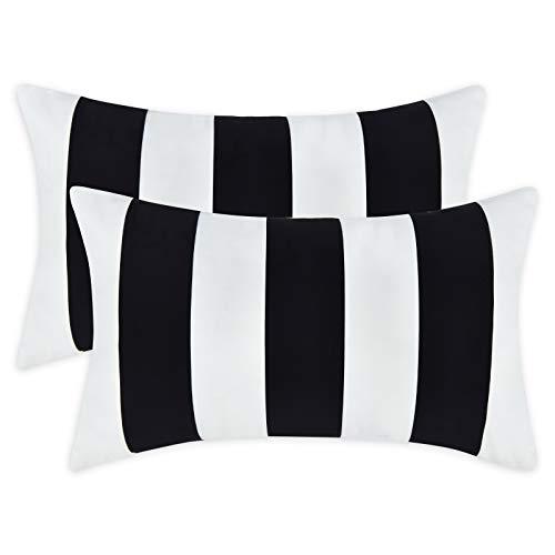 Alishomtll Juego de 2 fundas de cojín de 30 x 50 cm, diseño de rayas, suaves, decorativas, juego para sofá o dormitorio, color blanco y negro