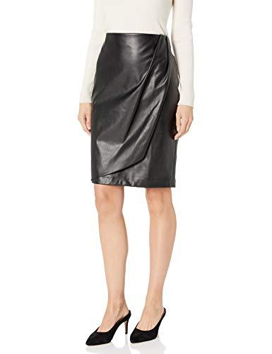 Calvin Klein Women's Faux WRAP Pencil Skirt, black, 14