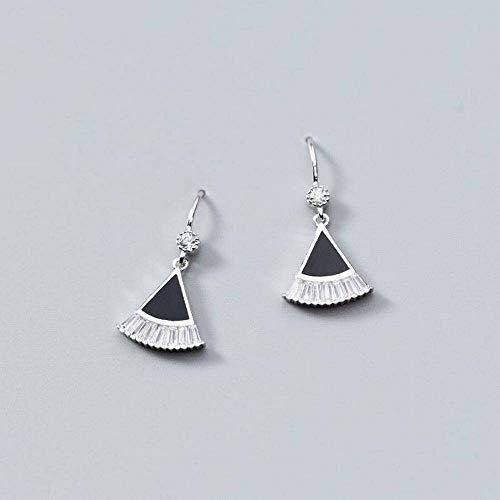 O&YQ S925 Pendientes de Plata de Moda Clásico Diamante Abanico Pendientes Temperamento...