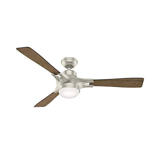 """Hunter Fan Company 59378 Signal Ceiling Fan With Light With Integrated Control System, 54"""", Matte Nickel"""