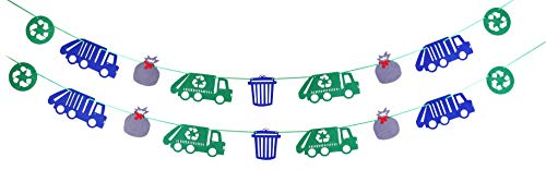 Garbage Truck Party Supplies, Garbage Trash Trucks Birthday Felt Garland Banner recycling Decorations Party Photo Prop for Kids