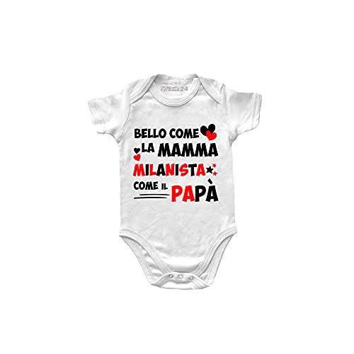 Body Neonato Milan Manica Corta - Bello Come la Mamma, Milanista Come Il papà - Body Bambino Unisex 100% Cotone Morbido e Traspirante - Body Regalo Nascita Neonato Maschio - 12 Mesi