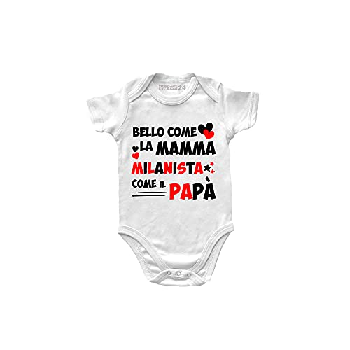 Body Neonato Milan Manica Corta - Bello Come la Mamma, Milanista Come Il papà - Body Bambino Unisex 100% Cotone Morbido e Traspirante - Body Idea Regalo Nascita Bimbo - 6 Mesi