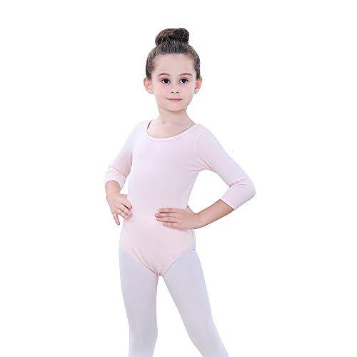 Soudittur Kinder Ballettanzug Baumwolle 3/4 Langarm Ballett Trikot Tanz-Body Turnanzug für Mädchen (Rosa, Tag 110(Höhe: 105-115 cm))