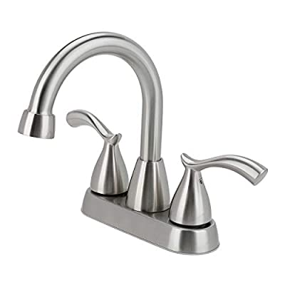 2 Handle Brushed Nickel Bathroom Faucet, 4 Inch Centerset Bathroom Sink Faucet Lead-Free Modern Commercial, 3 Holes Double Handles RV Bathroom Vanity Sink Faucets