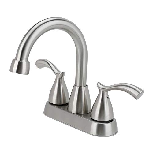 Bathroom Faucet, 2 Handle Brushed Nickel Bathroom Sink Faucet, 4 Inch Centerset Lead-Free Modern Commercial Bathroom Faucets, 3 Holes Double Handles RV Bathroom Vanity Sink Faucets