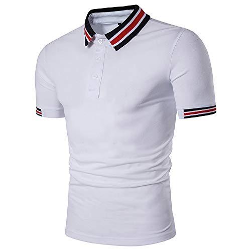 CFWL Camisa Casual Polo De Manga Corta con Costuras De Talla Grande para Hombres De Moda Camisa De Lino A Rayas, De Manga Corta Y Corte Entallado para Camiseta De Manga Corta White L