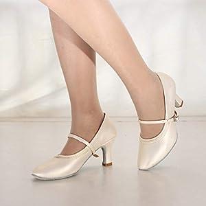 BaZhaHei Scarpe da Ballo Latino Donna Vintage Elegante Moda Dancing Waltz Prom Ballroom Latin Ballet Dance Singles Shoes,Standard Ballroom Sala da Ballo Scarpe 8CM