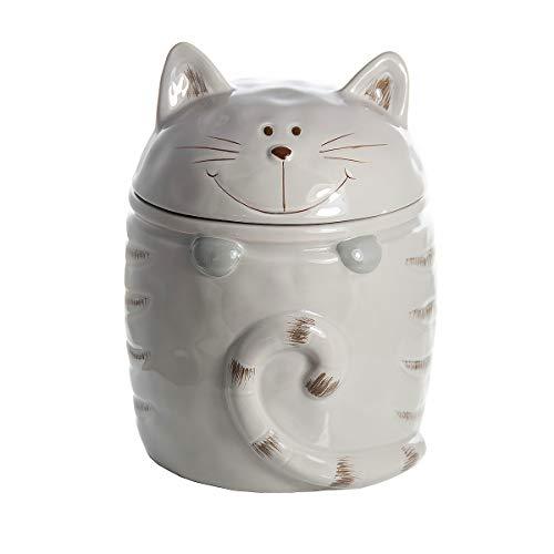 Katze Keksdose Vorratsdose Keramik Cookie Jar Zwecke Katzenleckerli Aufbewahrungsbox Beige, Geschenk für Katzenliebhaber Cat Lover Gift