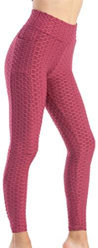 EUDOLAH Leggings Deportivos Elásticos Bubble Jacquard Pantalones Yoga Fitness Color Sólido Mujer con Cintura Alta y Bolsillo(Rojo Oscuro,XL)