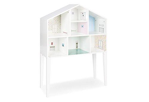 Pinolino Puppenhaus Anni, aus Holz, Füße abnehmbar und als Wandregal nutzbar, inkl. Tapeten und Möbelstickern, für Kinder von 3 – 12 Jahren, weiß