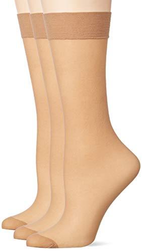 Pretty Polly Damen 15d Comfort Top Knee Highs 3pp Kniestrümpfe, 15 DEN, Beige (Nude Nude), One Size (Herstellergröße: OS) (3er Pack)
