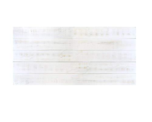 Cabecero Antiguo Recto Horizontal Pintado Sam, Madera, Blanco Vintage Envejecido, 150x5x80 cm. (Incluye Regalo iman Personalizable Nevera)