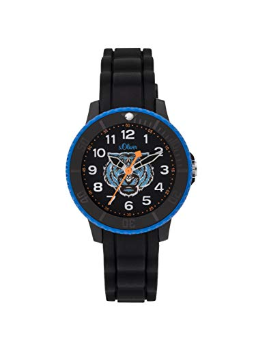 s.Oliver Jungen Analog Quarz Uhr mit Silikon Armband SO-3927-PQ
