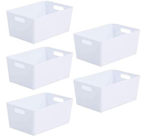 Wham Bam 4.02 Aufbewahrungskorb, Kunststoff, 25,5 x 17 x 11 cm Ice White 5er PACK