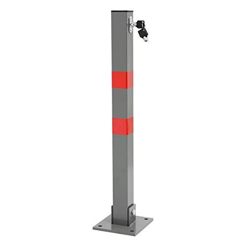 ECD Germany 1x Klappbare Parkpfosten eckig 65,5 cm mit roten Warnstreifen und 3 Schlüssel - aus Stahl - Parkplatzsperre Absperrpfosten Sperrpfosten Parkplatz-Barriere Park Pfosten Poller Standfuß