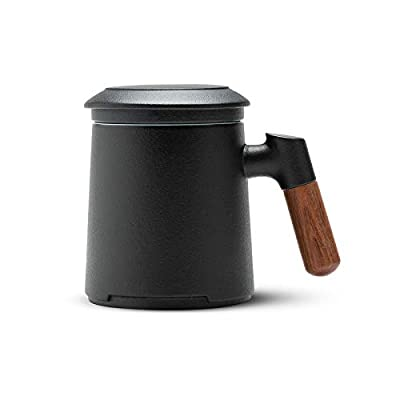 ZENS Tea Mug with Infuser,13.5 Ounce Stoneware Glazed Ceramic Tea Cup with Lid and Rosewood Handle for Steeping Loose Leaf Tea, Black