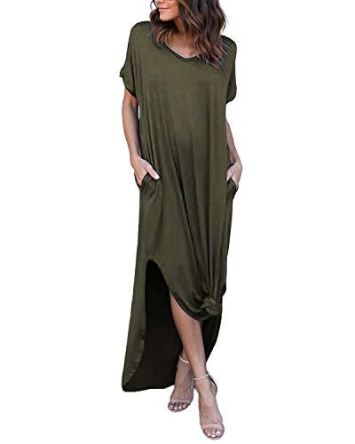 YOINS Sommerkleid Damen Lang Maxikleider für Damen Strandkleid Sexy Kleid Kurzarm Jerseykleider Strickkleider Rundhals mit Gürtel Langarm,EU36-38/S,grün-01