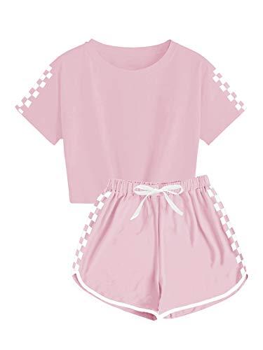 Ybenlover Chándal de 2 piezas para niños y niñas, conjunto de camisetas...
