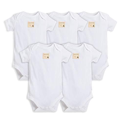 Burt's Bees Baby Bodies unissex para bebês, pacote com 5 unidades de manga curta e comprida, 100% algodão orgânico, Manga curta na nuvem, Preemie