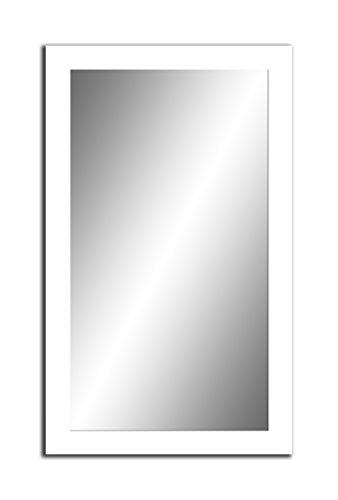 Spiegel MIT Rahmen 32 GRÖßEN 80/60, 60/80cm, 12 Farben Rahmen, Handgefertigte, breiter Fester Rahmen, Stabiler Rückwand, Rahmenleiste: 60x20mm, Farbe: Weiß Matt