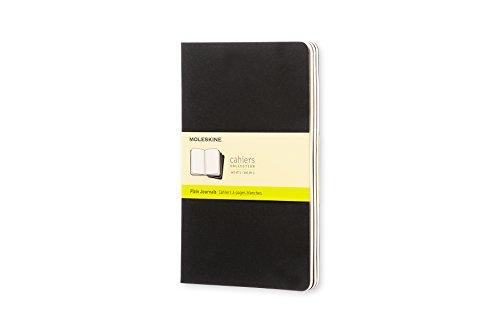 Moleskine Cahier Journal (3er Set Notizbücher mit blanko Seiten, Kartoneinband und Baumwollstickerei, Large 13 x 21 cm, 80 Seiten), schwarz