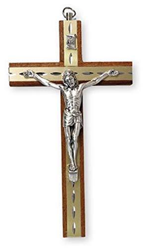 Crucifijo de Colgar de Madera de Caoba, con Figura de Plata y Jesucristo INTARSIO a Corte de Diamante, 15cm, 10581