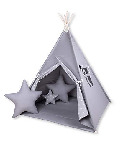 Amilian® Tipi Spielzelt Zelt für Kinder T45 (Spielzelt ohne Tipidecke/mit 3 x Sternkissen)