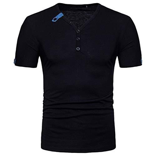 KXZD Summer Herren KurzäRmliges T-Shirt Herren T-Shirt mit V-Ausschnitt Einfarbige Classic Basic Komfortable Stretch Einfache Freizeitoberteile Herren Kurzä Rmliges T-Shirt