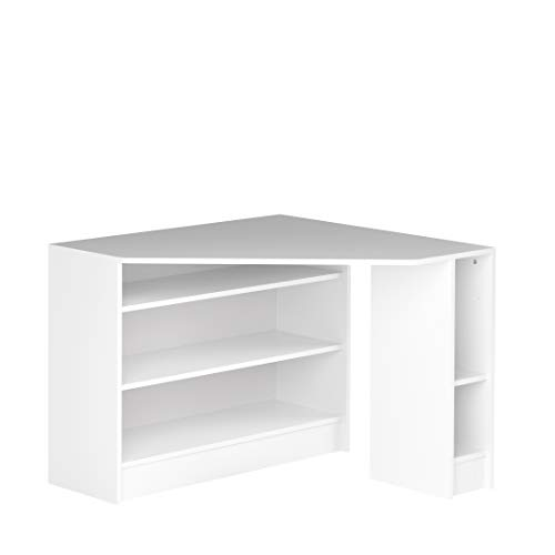Marca Amazon - Movian Cabriel - Escritorio esquinero, 94 x 94 x 74.1 cm (largo x ancho x alto), blanco