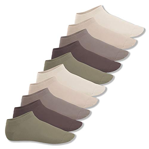 Footstar Herren & Damen Sneaker Socken (10 Paar), Kurze Sportsocken aus Baumwolle - Sneak It! - Naturtöne 39-42