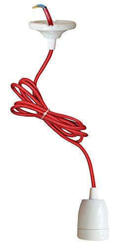 Tibelec 771810 Suspension CÃramique Fil Tissu E27 Rouge, Céramique, Noir/Blanc