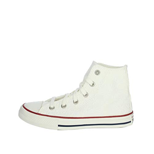 Converse Chuck Taylor All Star Little Miss Chucks Hi Wit/Blauw (White/Midnight Navy) Katoen Jeugd Sneakers Schoenen