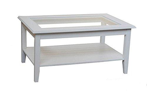 Legno&Design Table de séjour Salon en Bois étagère en Verre. Classique et Moderne