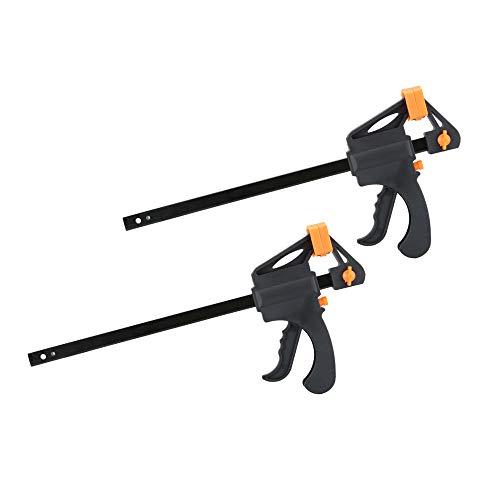 Nuzamas - Juego de 2 abrazaderas de plástico de 25 cm, agarre rápido y liberación de trinquete, kit de herramientas de bricolaje para carpintería, abrazadera de barra ajustable