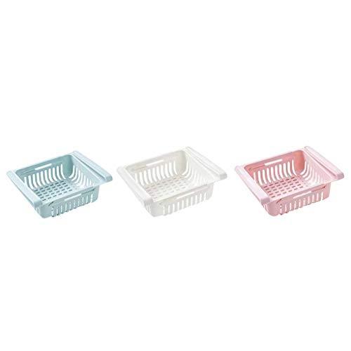 Cdosotn Kühlschrank Schubladen, Kühlschrank-Korbset 3 Stück, Einstellbare Lagerregal Kühlschrank Partition Layer Organizer Ausziehbare Kühlschrank Aufbewahrungsbox Platzsparender Organizer
