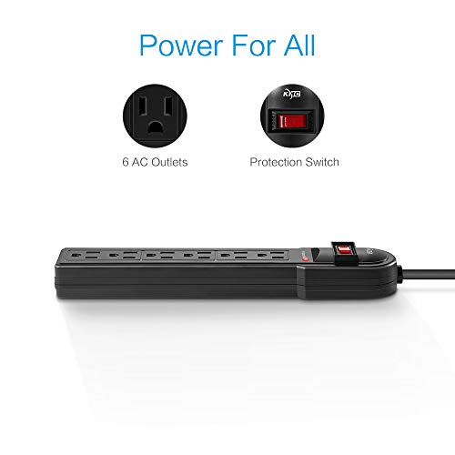 KMC 6-Outlet Surge Protector Power Strip-2-Pack