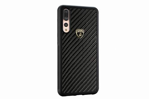 Lamborghini ELEMENTO D3 Carbon, Schutzhülle Back Case Schwarz, geeignet für Handy Huawei P20 Pro