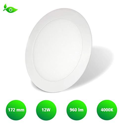 LED Panel Rund weiß 12W 172mm 4000K neutralweiß LED Spot Einbaustrahler Spotlight LED Spots Einbauspot Deckenstrahler Wohnzimmerlampe Esszimmerspot Küchenleuchte