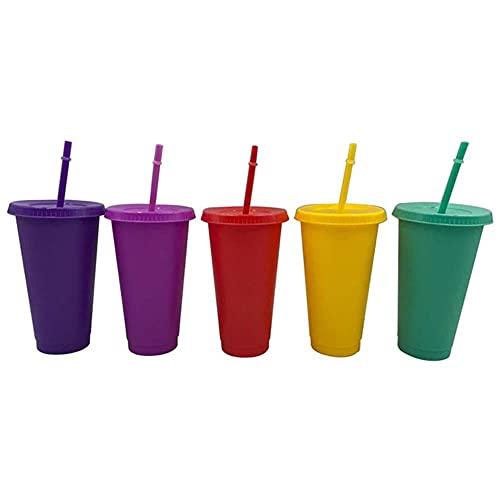 Taza de plástico de 5 piezas con taza de paja reutilizable, duradera, fácil de limpiar, que cambia de color, portátil, 473/700/710 ml, botella de agua con taza-China, 06