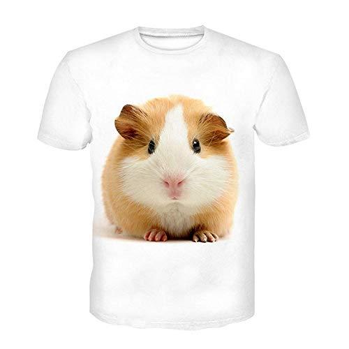 Unisex 3D Camiseta Impresa,Novedad Camisetas Estampadas En 3D Cute Hámster Amarillo Animal Blanco Casual Cuello Redondo Casual Tinte Mangas Cortas Para Hombres Mujeres Verano Casual Camisetas Gráfi