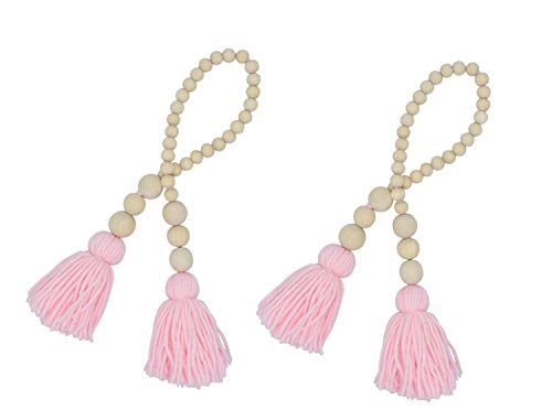 AceAcr 2PCS Wood Bead Garland Farmhouse Beads with Tassels Rustic Home Baby Room Decor (Pink)