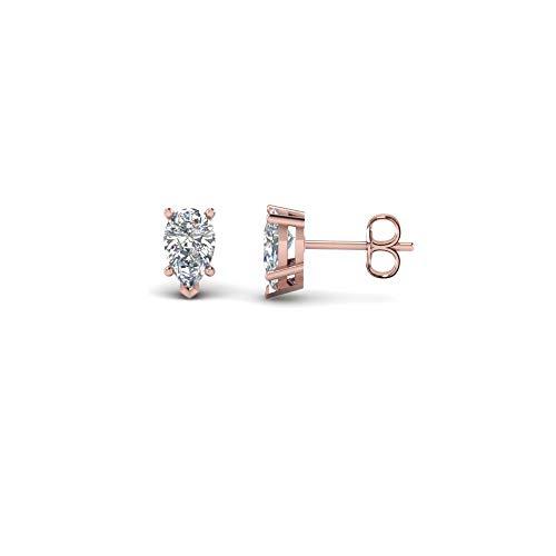Pendientes de tuerca solitario con forma de pera de 3 mm a 7 mm con diamante transparente D/VVS1 en plata de ley 925 chapada en oro rosa de 14 quilates